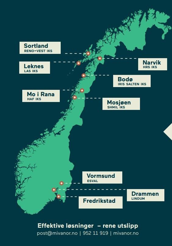 Kart over Mivanor sin tilstedeværende med MivaMag