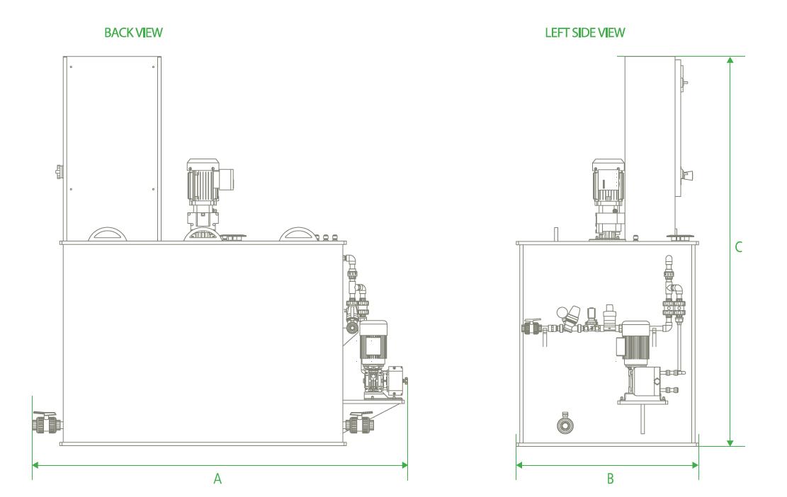 Tekniske tegninger av doseringssystemet CL-T